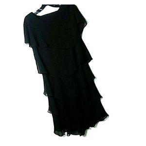 TIERED RUFFLE BLACK HOLIDAY DRESS